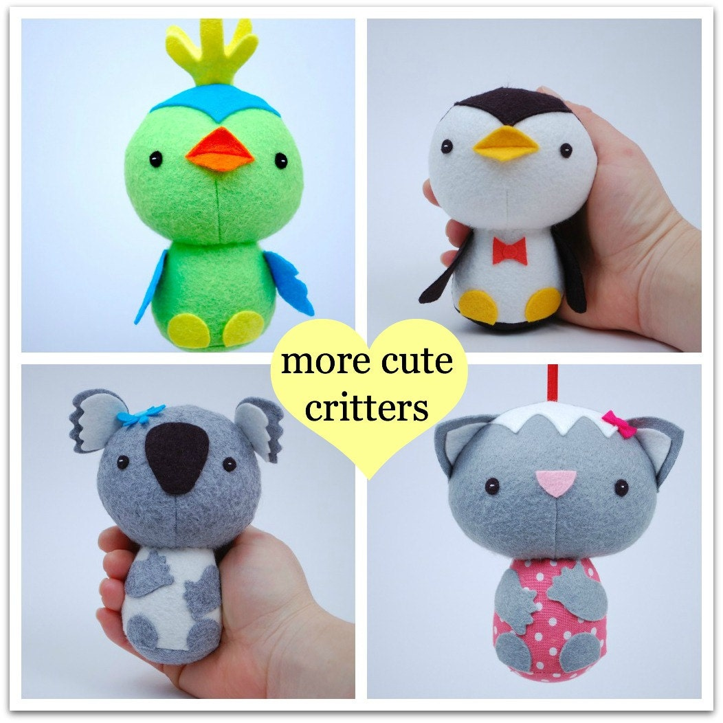 More Cute Critters Pdf Sewing Pattern For Easy To Sew Felt Etsy