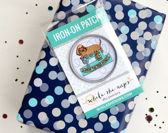 Drop the Feed Dogs Sewing Machine Puppy Iron-On Patch