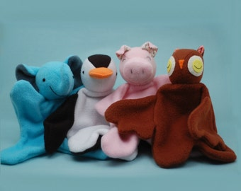 Lovey Dovey Elephant, Penguin, Pig, and Owl - PDF Sewing Pattern For Baby Lovies