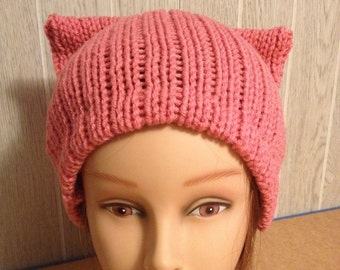 62af72c312be1a Mauve PussyHat Cat beanie Women s March PUSSY HAT Cap Kitty Ears 3 Sizes
