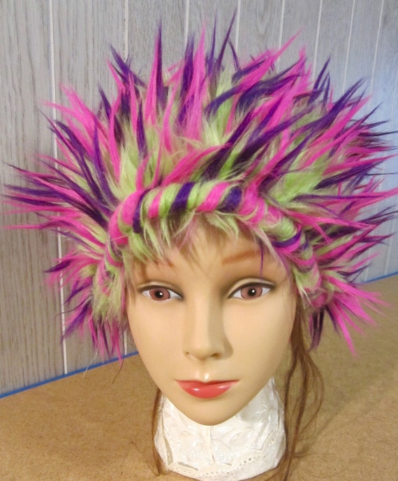 2 Size Small ROUND COHZEE Hats Faux Fur 2-Toned BurningMan style funfur Playawear Costume Wig Cosplay Different Styles All size SMALL