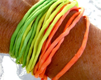 Burst of Color Silk Cord Bali Silver Magnetic Clasp Bracelet Citrus Lime Orange Hand dyed