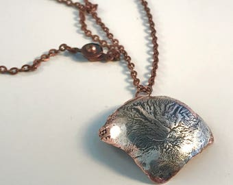 Copper & Sterling Silver Pendant Organic Roots Tree Reticulation Necklace