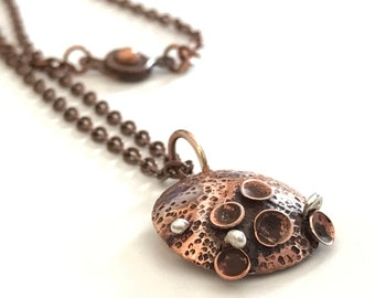 "Metal Copper Discs Domes Pods Balled Sterling Silver Wire Pendant Necklace 18"" Copper Chain"