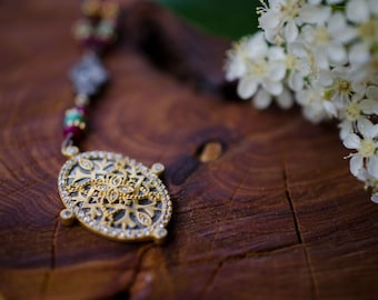 Ruby & Turquoise Oxidized 24K Gold Vermeil CZ Pendant Necklace