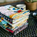 Set of FOUR colorful Patchwork Cloth napkins- two-sided