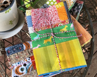 Patchwork Cloth Napkin Set - FOUR colorful  two-sided