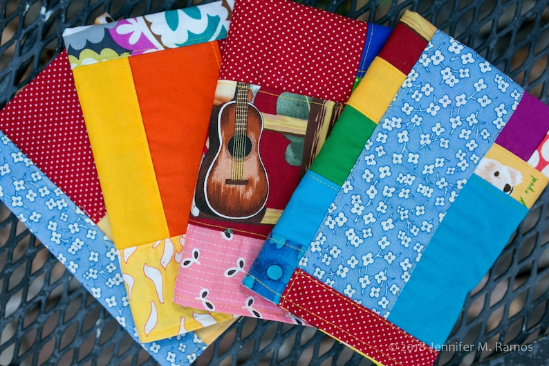 Set of FOUR Rainbow Patchwork Cloth napkins two-sided image 0