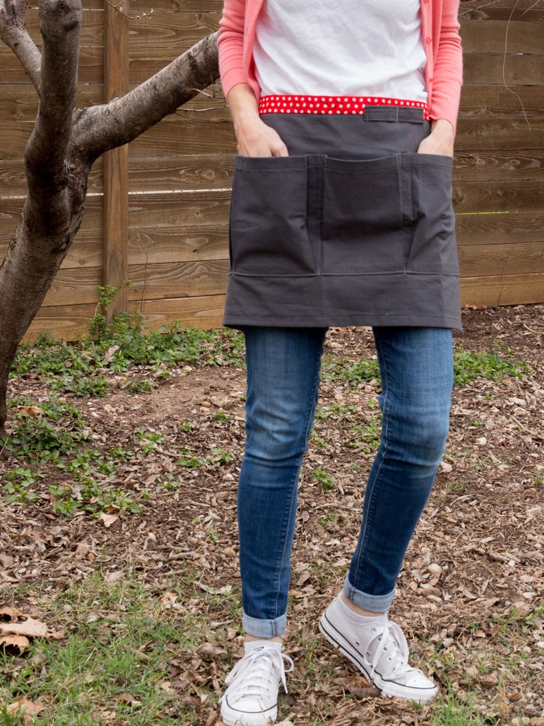 Dark Gray Red Waistband Vendor Craft or Gardener Half Apron image 0