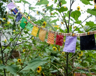 Rainbow Bunting Banner or Garland,  patchwork inspired