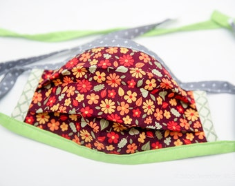 Washable Fabric Face Mask with ties for personal use, reversible - no filter pocket