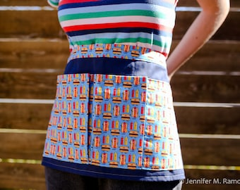 Half Apron for Vendor, Crafter, or Gardener - Happy Hamburgers and Hot Dogs, plus mustard and ketchup
