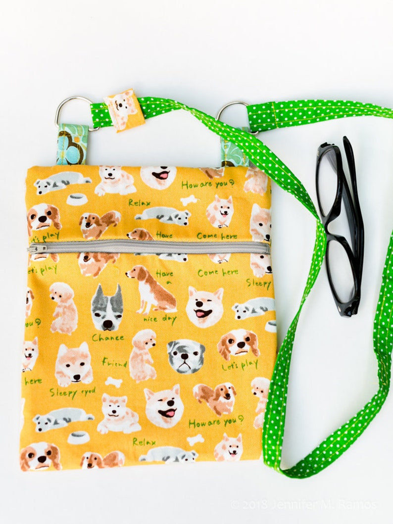 Japanese Dog Print cross-body zipper bag image 0