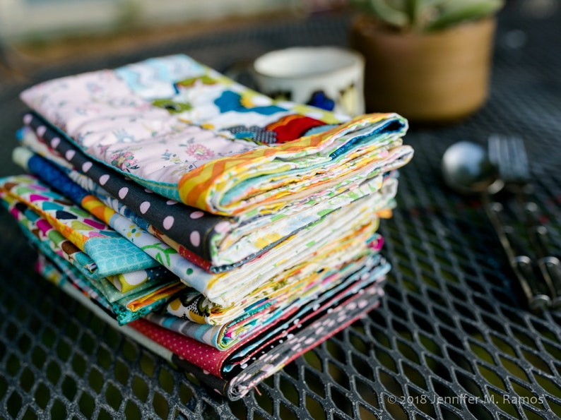 Set of FOUR colorful Patchwork Cloth napkins two-sided image 0