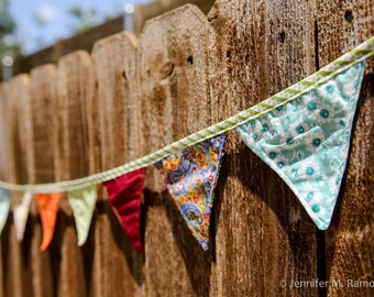 Bunting Banner or Garland,  patchwork inspired