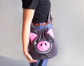 Cute Pig Crossbody Drawstring Bag - Cute Animal Small Slouchy Bucket Handbag - Kawaii Vegan Women Teen Girls Cross Body Cosplay Fashion