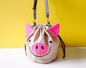 Super Cute Pig Bag - Vegan Crossbody Bag - Womens Bucket Purse - Unique Sling Bag - Fabric Cross Body - Drawstring Pouch Detachable Strap