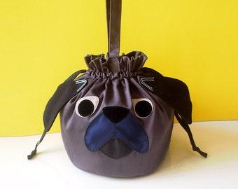 Black Pug Dog Drawstring Bag - Super Cute Bucket Handbag Slouchy Purse - French Bulldog Pouch Women Kids Twinning Matching Mother Child