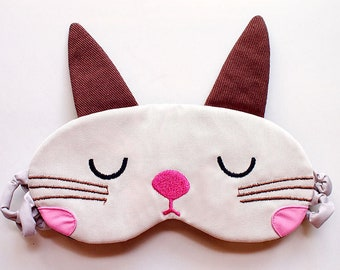 Bunny Rabbit Sleep Mask - Cute Padded Eyemask - Unisex Eye Cover Pillow - Blindfold Kawaii Harajuku Cosplay Bedroom Couple Gifts