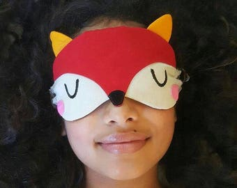 RED Fox Sleep Mask Foxy Sleeping Mask Cute Animal Eyemask Woodlands Theme Eye Mask Cosplay Sleep Mask Travel Eye Cover Eye Shield Blindfold