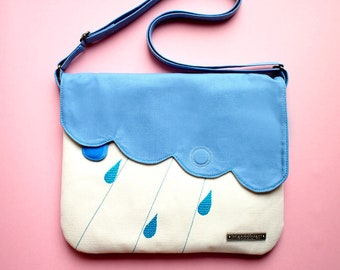 Cute Minimalist Crossbody Purse, Vegan Everyday Cross Body Bag, Fabric Shoulder Sling Handbag, Clouds Raindrops Rain Weather GRAY DUSTY BLUE