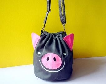 Gray Pig Slouchy Bucket Crossbody Bag 709b72d9292b