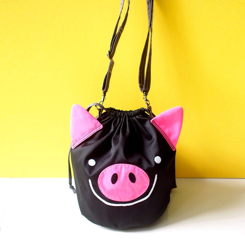 3181cbc15893 Black Pink Gothic Pig Bucket Crossbody Bag Small Slouchy