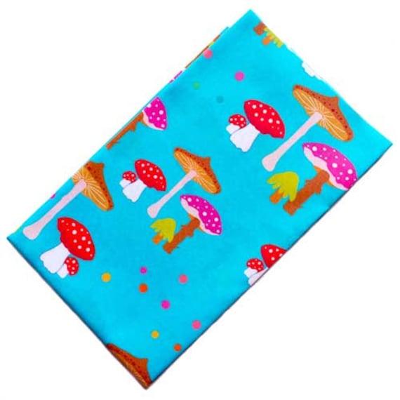 TOADSTOOLS MUSHROOMS Fabric Fat Quarter Cotton Craft Quilting KITSCHY KAWAII