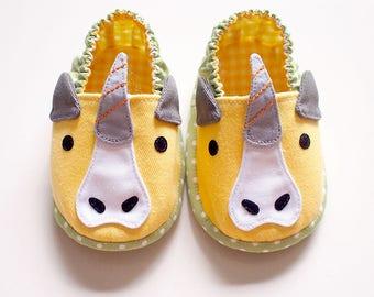 Elastic Baby Booties, Unicorn Baby Shoes, Unicorn Baby Booties, Fabric Baby Shoes, Prewalker Booties, Newborn Infant Booties, Unicorn 05