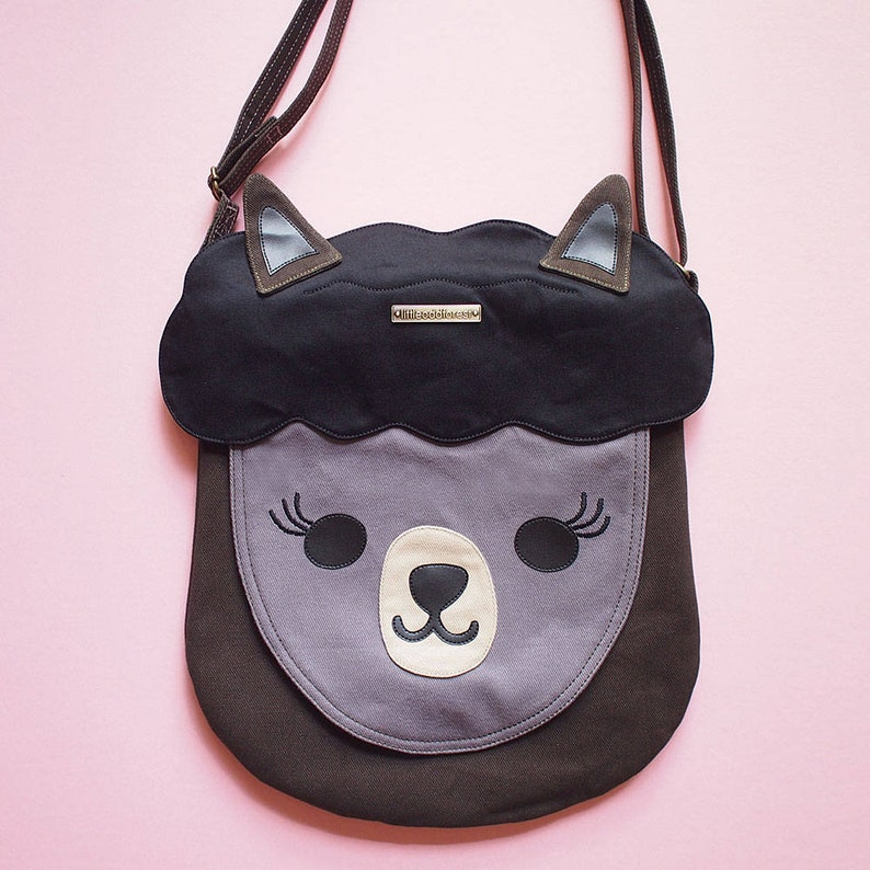e3ac57eac7d3 BLACK Alpaca Bag Llama Purse Cute Vegan Crossbody Shoulder Bag Women Fabric  Cros... BLACK Alpaca Bag Llama Purse Cute Vegan Crossbody Shoulder Bag  Women ...