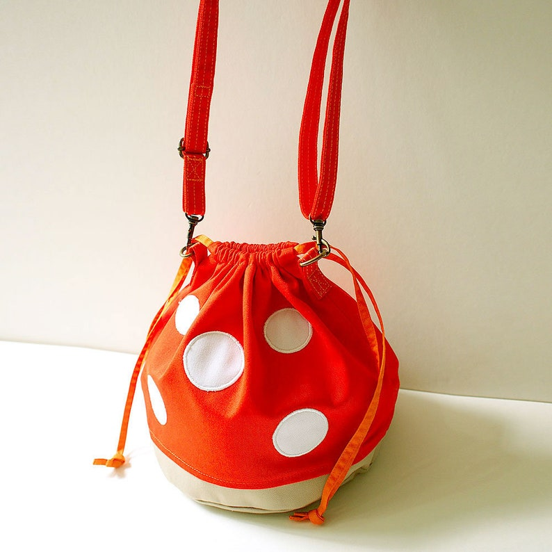 8b73777073ab Toadstool Drawstring Bucket Bag ORANGE Mushroom Crossbody