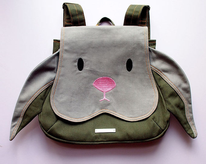 Gray Bunny Backpack - Cute Vegan Rucksack - Kids Rabbit Bag - Womens Back Pack - Animal Easter Kawaii Harajuku Cosplay Halloween Fashion