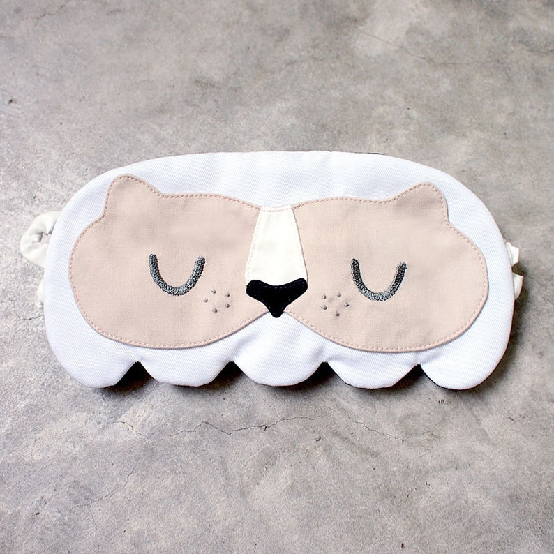 White Lion Sleep Mask - Sleeping Tiger Eye Cover - Beauty Beast Eyemask  Cute Padded Blindfold Korean Costume Slumber Party Singapore Merlion