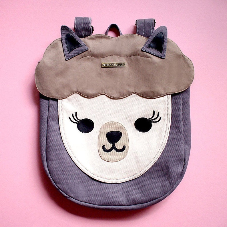 ab832250ef3b GRAY Alpaca Backpack Llama Rucksack Cute Animal Vegan Bag