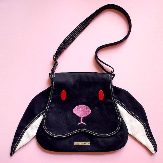 SCHWARZE Hase Geldbörse Kaninchen Crossbody Tasche süße Cross Body Vegan Handtasche Tier Sling Geldbörse Kawaii Harajuku Street Fashion