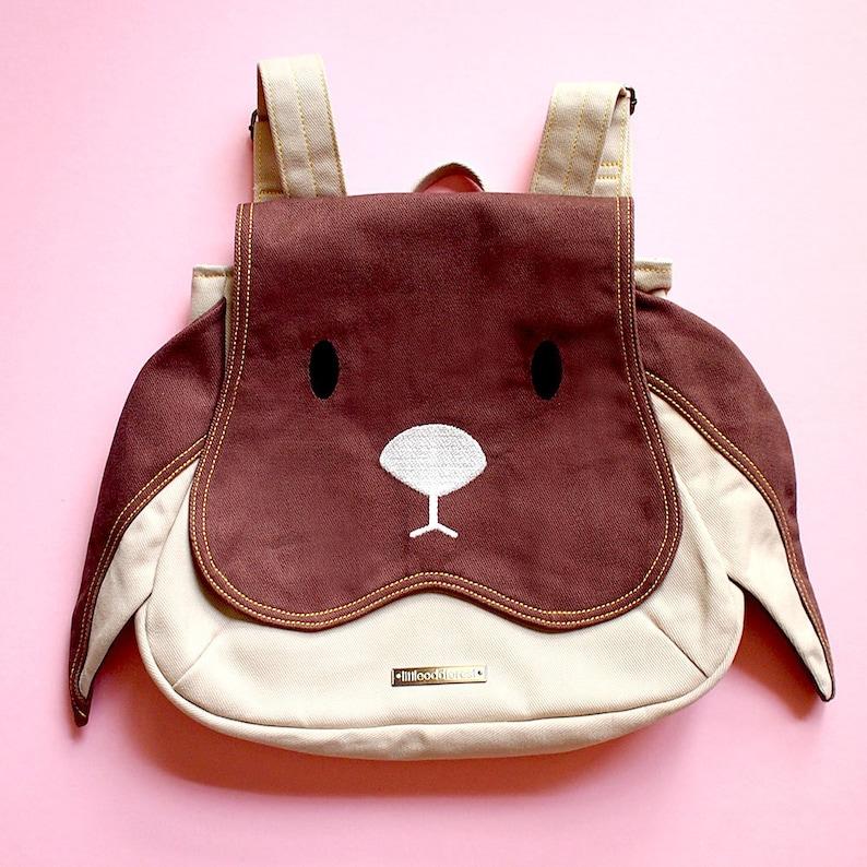 Small Bunny Rabbit Rucksack  Cute Vegan Fabric Backpack  image 0