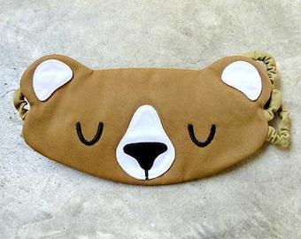 Sleeping BEAR Sleep Mask - Cute Animal Eyemask - Padded Eye Cover - Cosplay Blindfold - Co-Worker Gifts - Couple Gifts - Travel Flight Gifts