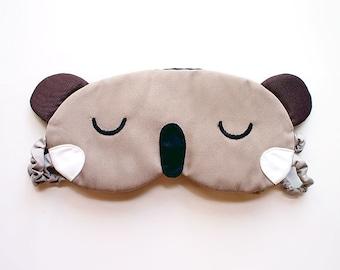 Cute Koala Sleep Mask - Padded Eye Cover - Cotton Blindfold - Sleeping Bear Eyemask - Wombat Animal Halloween Cosplay Costume Australian