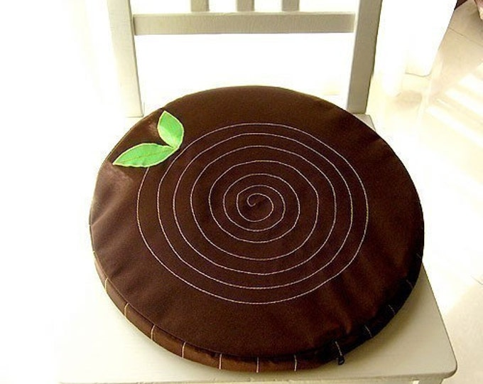 Tree Stump Cushion - Round Seat Cushion - Tree Trunk Chair Pad - Woodlands Theme Brown Floor Flat Cushion Removable Washable Zip Cover