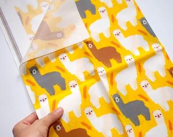 Alpaca FAT QUARTER - Llama Fabric Print - Cute Animals Quilting Cotton - Funny Printed Textile - Sheep Prints Yellow Color Funky Pink Hair