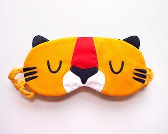 Tabby Tiger Sleep Mask - Cute Padded Eyemask - Jungle Animal Sleeping Eye Cover Yellow Garfield Cat Cosplay Comiccon Travel Flight Nap Gift