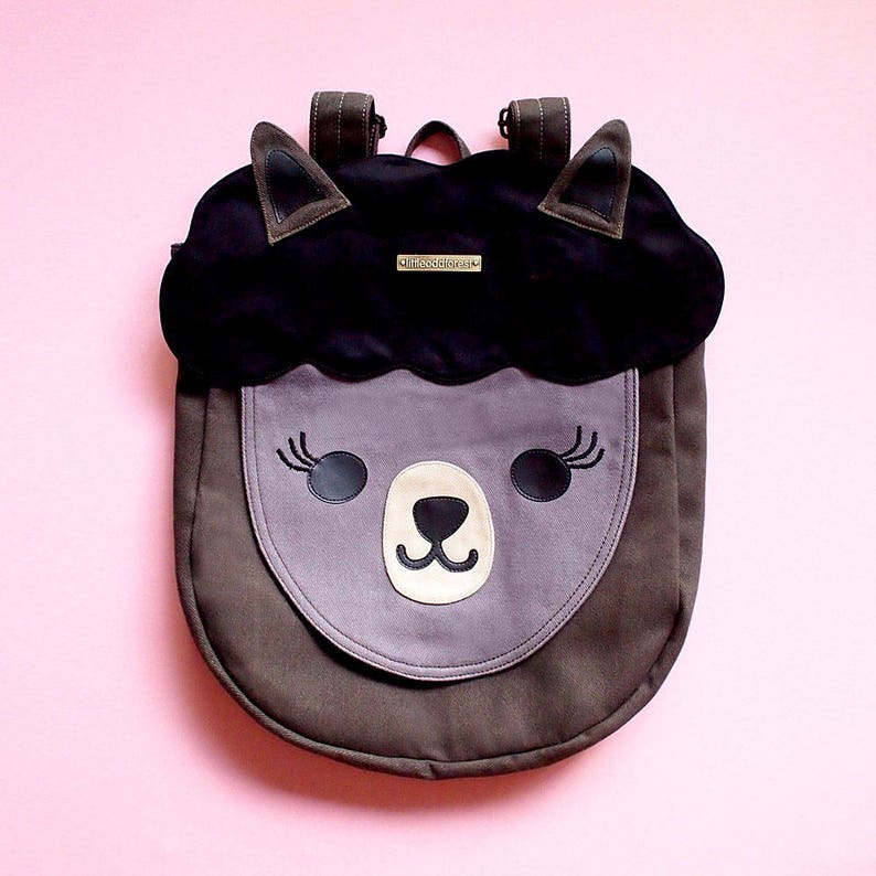 1578ee318194 BLACK Alpaca Llama Backpack Kawaii Cute Bag Women Ladies Kids
