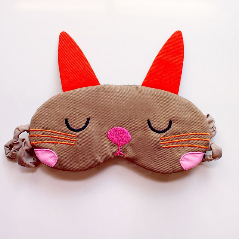 Cute Padded Eye Cover Unisex Kitsch Blindfold Animal Theme Kawaii Harajuku Cosplay Costume Rabbit Eyemask Pillow Sleep Mask Bunny Ears