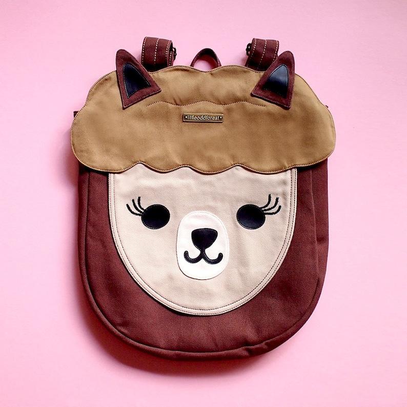 Cartoon Llama Alpaca Hand Ladies School Bags Casual Work Bag Girls Backpack Print Zipper Students Unisex Adult Teens Gift