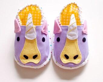 Unicorn Baby Booties, Unicorn Baby Shoes, Fabric Baby Shoes, Elastic Baby Booties, Prewalker Booties, Newborn Infant Booties, Unicorn 04