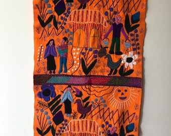 Vintage mexican wall hanging - Chiapas, Mexico - handcrafted embroidery crewel - folk art - table runner - wall art