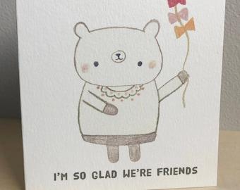 Friend Bear with Kite Greeting Card