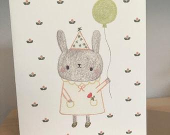 Fancy Bunny Birthday Greeting Card
