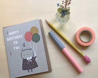 Kitty Sings the Birthday Song Greeting Card