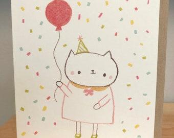 Confetti Cat Birthday Greeting Card